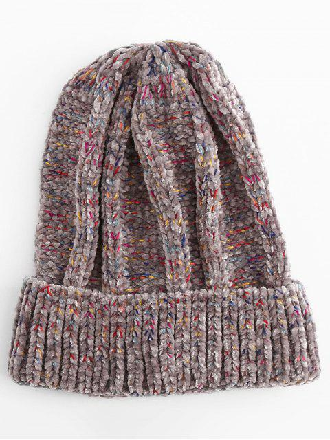 shop Winter Colormix Flanging Knitted Ski Cap - GRAY  Mobile