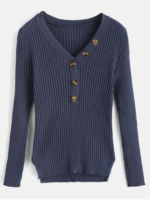 fashion Button Embellished Ribbed High Low Sweater - DARK SLATE BLUE ONE SIZE Mobile