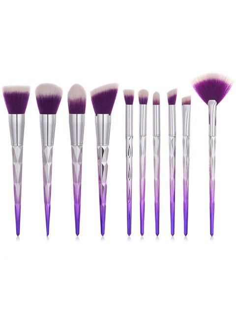 chic 10Pcs Gradient Color Handles Ultra Soft Foundation Blush Eyeshadow Fan Brush Collections - TYRIAN PURPLE REGULAR Mobile