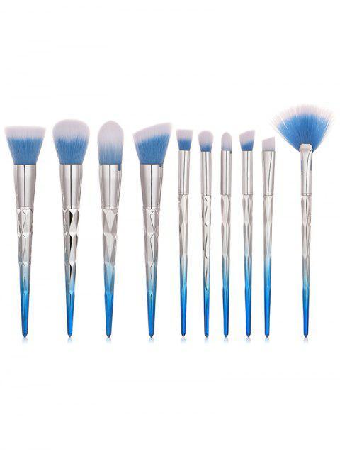 unique 10Pcs Gradient Color Handles Ultra Soft Foundation Blush Eyeshadow Fan Brush Collections - SKY BLUE REGULAR Mobile