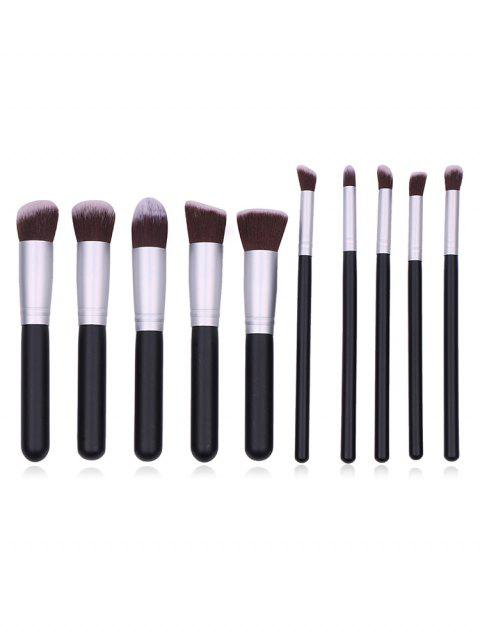womens Cosmetic 10Pcs Fiber Hair Makeup Brush Collections - BLACK REGULAR Mobile