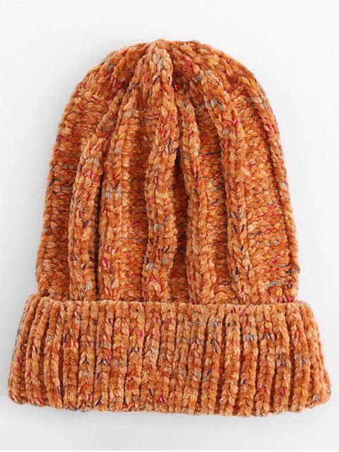 chic Winter Colormix Flanging Knitted Ski Cap - ORANGE  Mobile