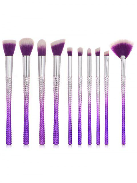 buy 10Pcs Gradient Purple Handles Ultra Soft Makeup Brush Suit - PURPLE FLOWER REGULAR Mobile