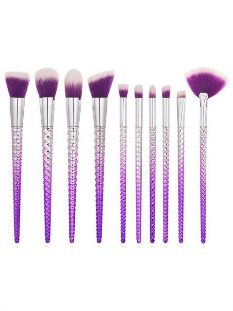 women Cosmetic 10Pcs Gradient Purple Ultra Soft Foundation Blush Contour Brush Suit - HELIOTROPE PURPLE  Mobile