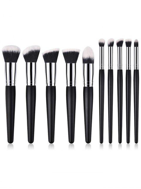 ladies Professional 10Pcs Wooden Handles Travel Cosmetic Brush Suit - BLACK REGULAR Mobile