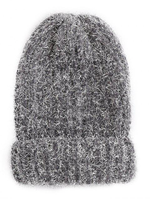 Striped Flanging Knitted Ski Cap - Gris  Mobile