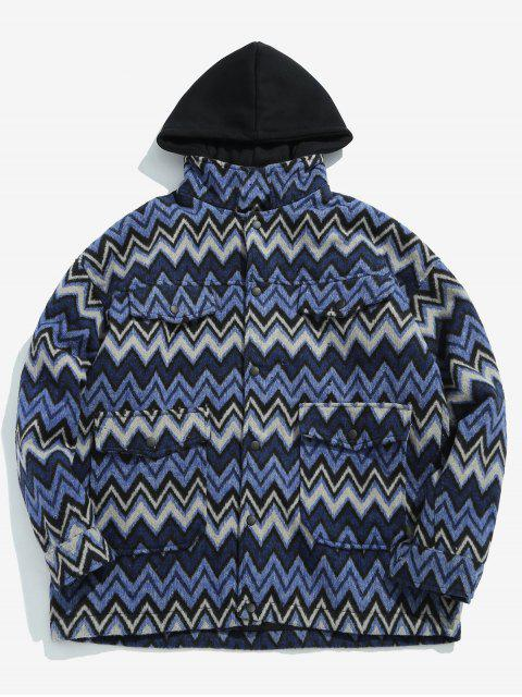 shops Wave Pattern Pocket Jacket - BLUE XL Mobile