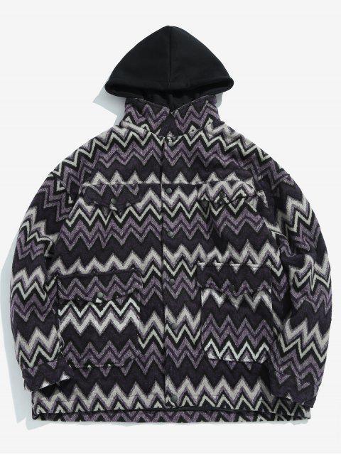 fashion Wave Pattern Pocket Jacket - PURPLE XL Mobile