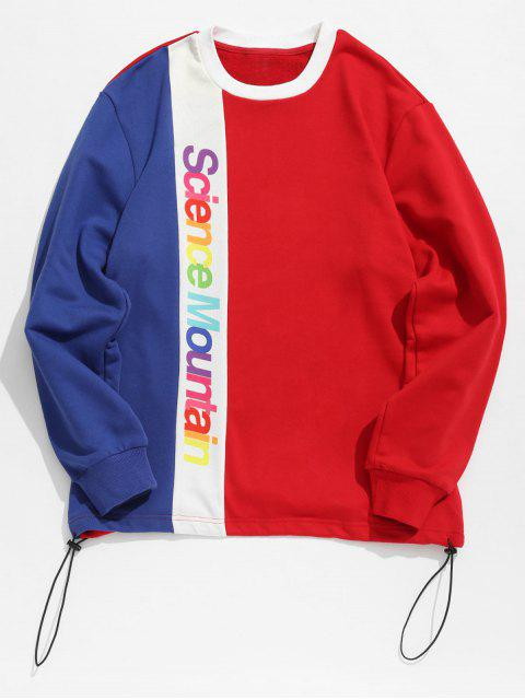women Contract Color Colorful Letters Printed Sweatshirt - RED 2XL Mobile