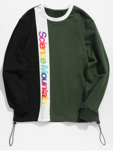 women's Contract Color Colorful Letters Printed Sweatshirt - DARK GREEN XL Mobile