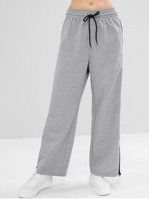 ZAFUL Pantalones Sueltos con Cremallera y Rayas - Nube Gris L Mobile