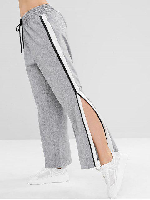 new ZAFUL Striped Zipper Loose Pants - GRAY CLOUD L Mobile