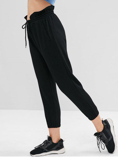 shops ZAFUL Ruffle High Waisted Jogger Pants - BLACK S Mobile