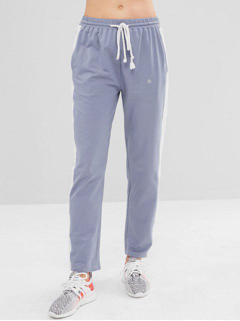 ZAFUL Color Block Drawstring Pants - Gris Azulado S Mobile