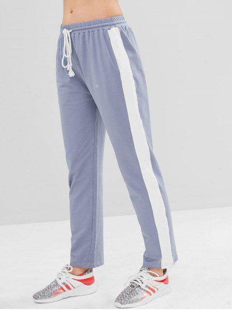 buy ZAFUL Color Block Drawstring Pants - BLUE GRAY L Mobile