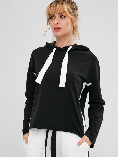 lady ZAFUL Drawstring Drop Shoulder Sports Hoodie - BLACK L Mobile