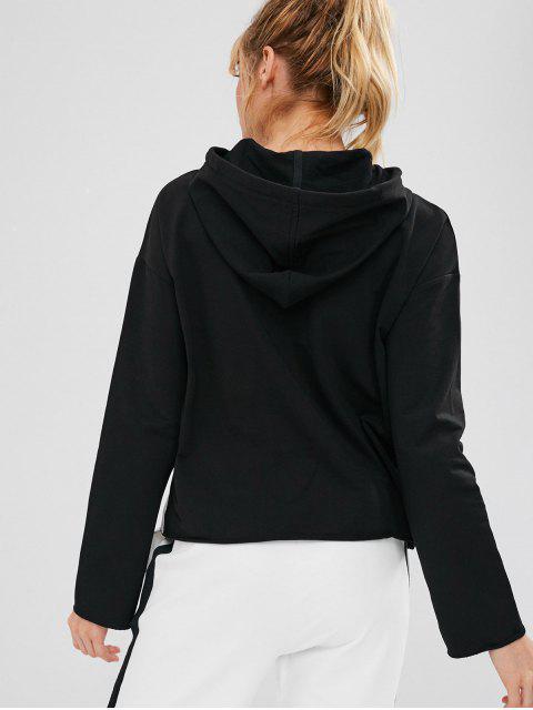 ZAFUL Drawstring Drop Shoulder Sudadera con capucha deportiva - Negro L Mobile
