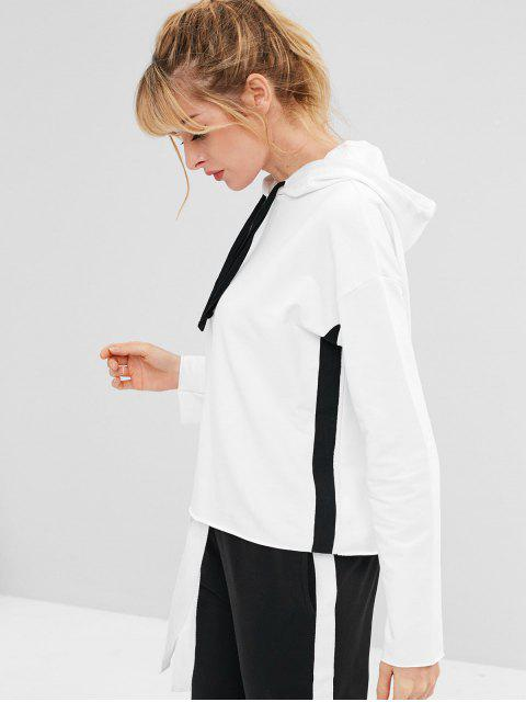 new ZAFUL Drawstring Drop Shoulder Sports Hoodie - WHITE XL Mobile
