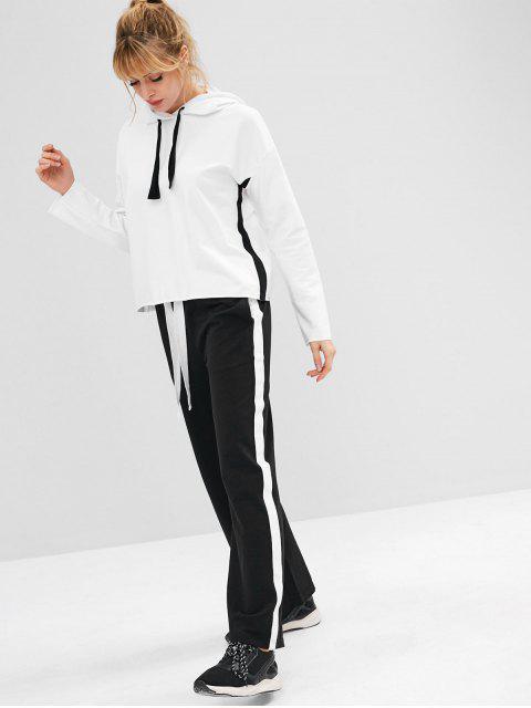 ZAFUL Drawstring Drop Schulter Sport Hoodie - Weiß S Mobile
