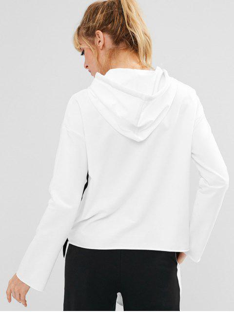 outfits ZAFUL Drawstring Drop Shoulder Sports Hoodie - WHITE S Mobile