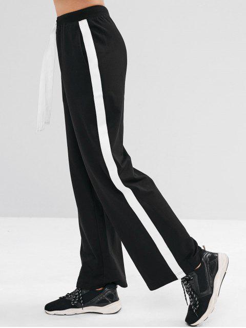 shops ZAFUL Contrast Drawstring Athletic Sweatpants - BLACK L Mobile