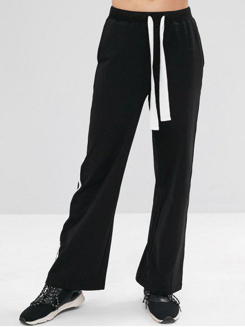 ZAFUL Contrast Drawsting Athletic Sweatpants - Negro S Mobile