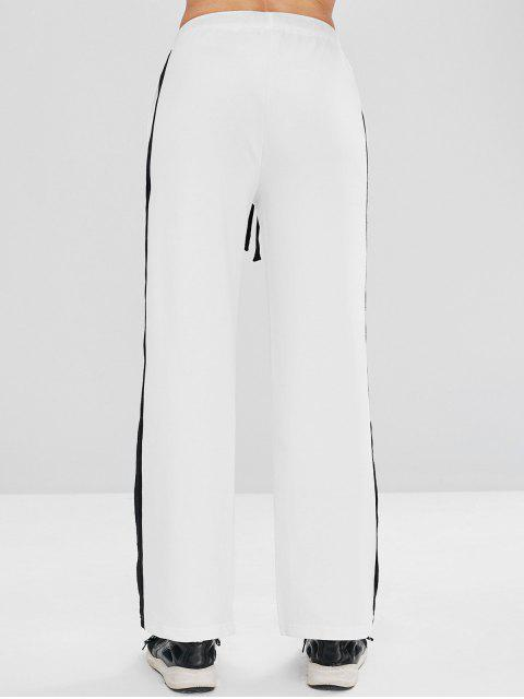 chic ZAFUL Contrast Drawstring Athletic Sweatpants - WHITE L Mobile