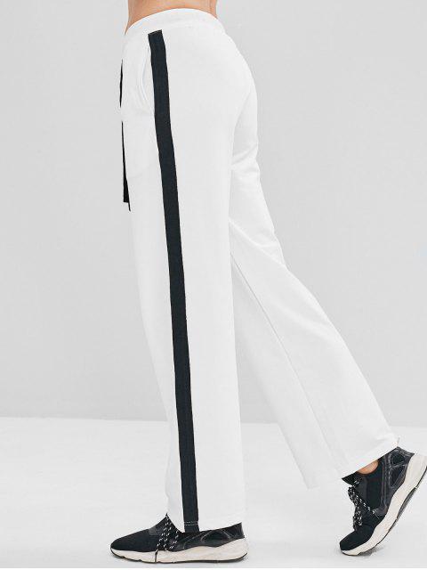 ZAFUL Pantalon de Survêtement Athlétique Contrasté à Cordon - Blanc M Mobile