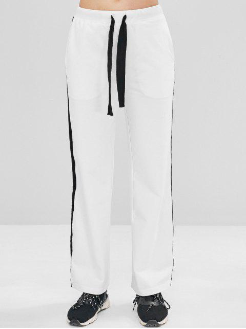 unique ZAFUL Contrast Drawstring Athletic Sweatpants - WHITE S Mobile