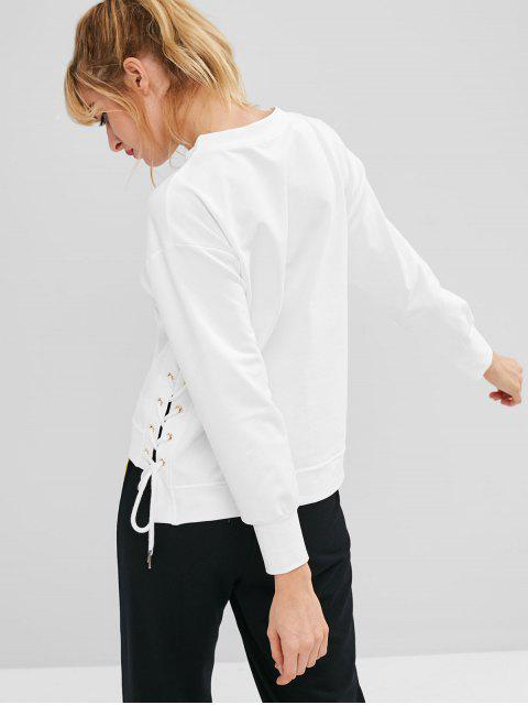 sale ZAFUL Lace Up High Low Sweatshirt - WHITE L Mobile