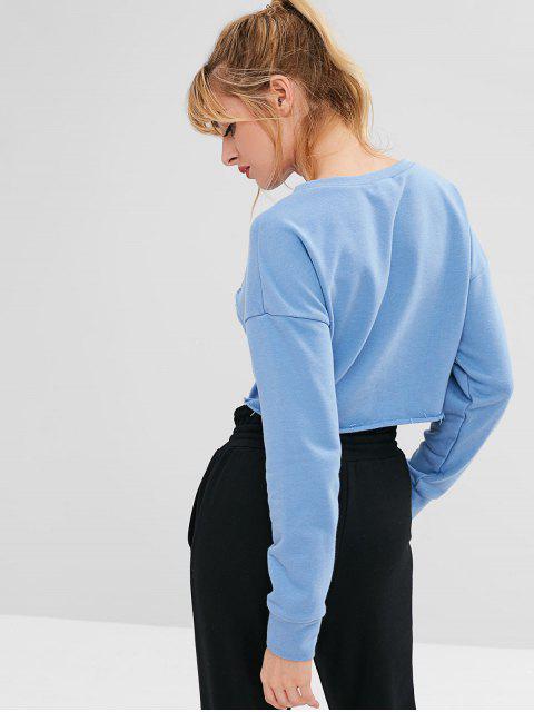 ZAFUL Distressed Drop Schulter Crop Sweatshirt - Blauer Efeu L Mobile