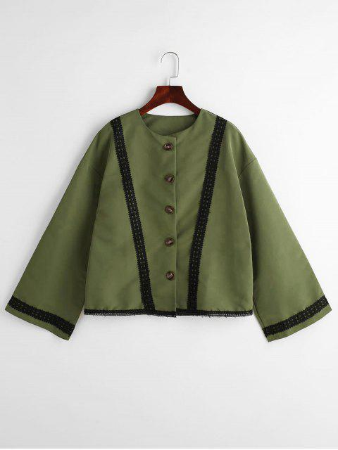 outfit Lace Trim Boxy Bell Sleeve Blouse - ARMY GREEN XL Mobile