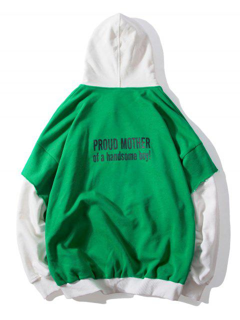 ladies False Two Pieces Zipper Drawstring Letter Hoodie - CLOVER GREEN M Mobile