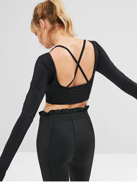 Criss Cross Crop Built in Bra camiseta - Negro L Mobile