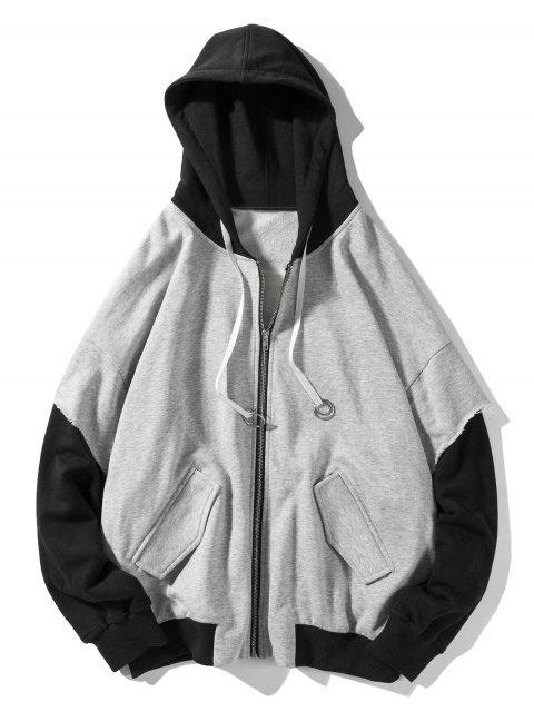 women's False Two Pieces Zipper Drawstring Letter Hoodie - LIGHT GRAY XL Mobile