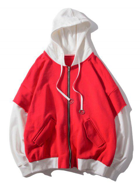 shops False Two Pieces Zipper Drawstring Letter Hoodie - RED XL Mobile