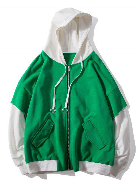 womens False Two Pieces Zipper Drawstring Letter Hoodie - CLOVER GREEN XL Mobile