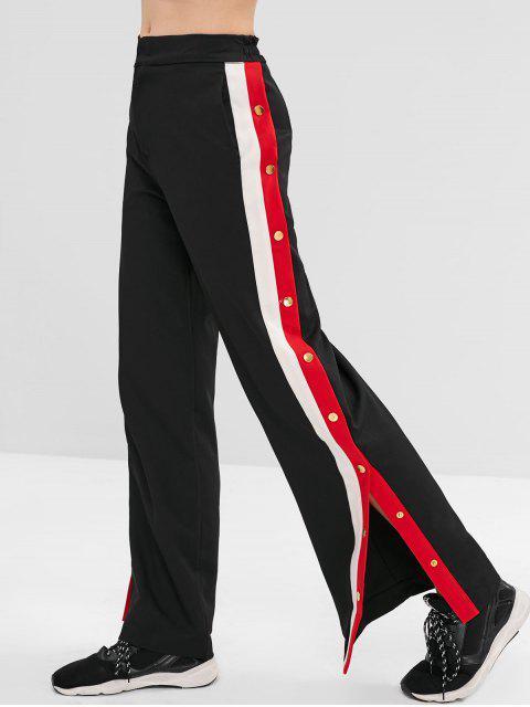 Pantalones rectos laterales a rayas con botones a presión - Negro M Mobile