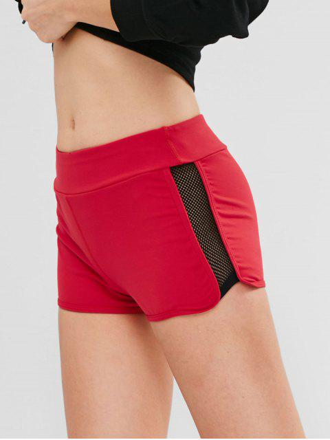 outfits ZAFUL Fishnet Color Block Shorts - RED M Mobile