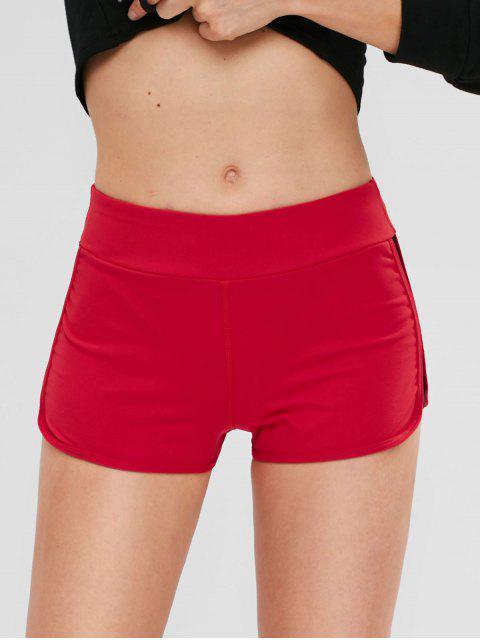 shop ZAFUL Fishnet Color Block Shorts - RED L Mobile