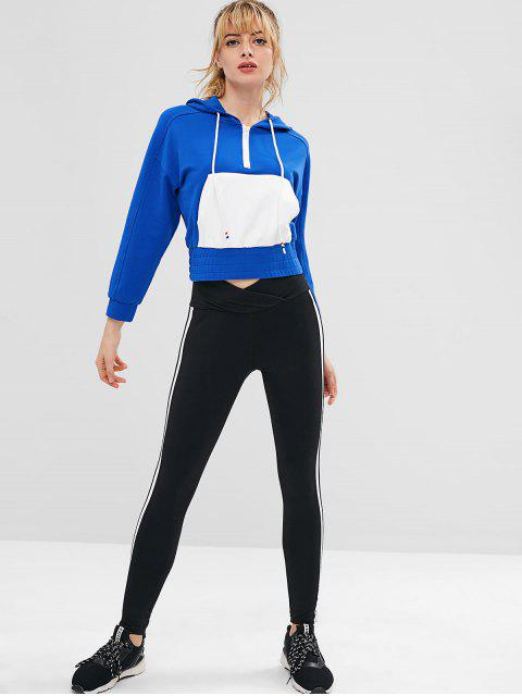 ZAFUL Raglan Sleeve Half Zip Hoodie - Blau L Mobile