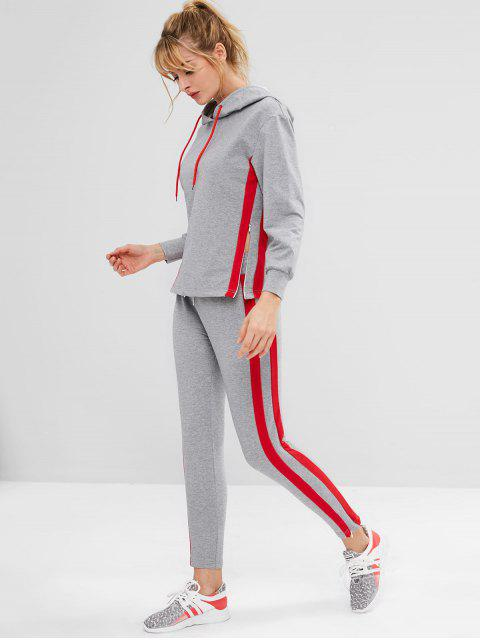 ZAFUL Striped Side Heather Kordelzug Hoodie - Dunkelgrau M Mobile