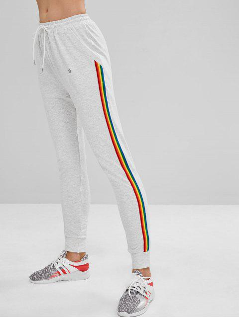 ZAFUL Pocket Striped Drawstring Jogger Pants - Gris Claro M Mobile