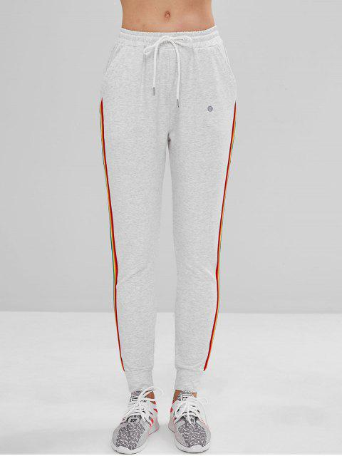 ZAFUL Pocket Striped Jogginghose mit Tunnelzug - Hellgrau S Mobile