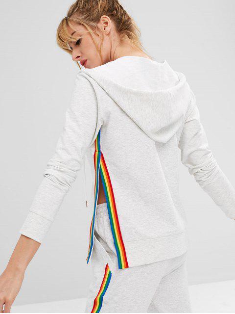 chic ZAFUL Striped Slit Hooded Jacket - LIGHT GRAY L Mobile