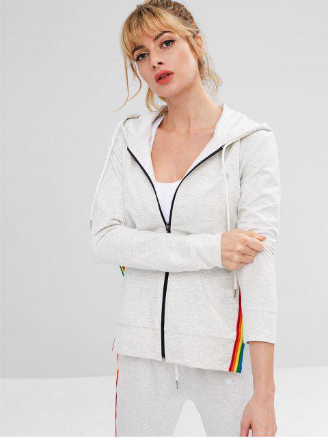unique ZAFUL Striped Slit Hooded Jacket - LIGHT GRAY S Mobile