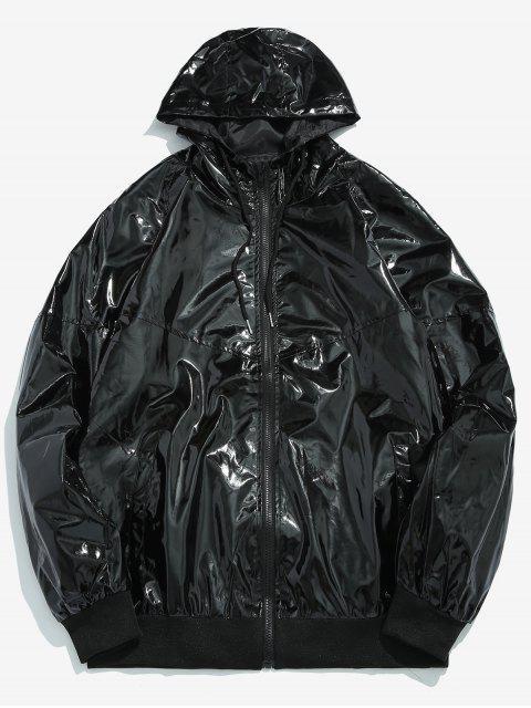 Veste à Capuche Zip en Avant en Couleur Métallisée - Noir L Mobile