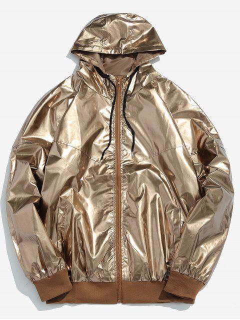 Metallic-Kapuzenjacke mit Reißverschluss vorne - Gold M Mobile