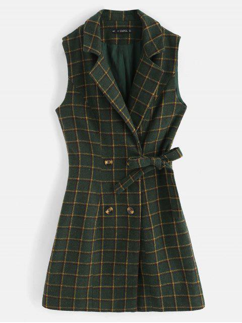 chic ZAFUL Plaid Double Breasted Lapel Waistcoat - DARK FOREST GREEN M Mobile