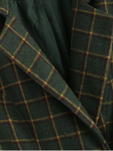 ZAFUL a cuadros doble chaleco de solapa de pecho - Verde de Bosque Oscuro XL Mobile